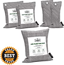 MaQma Bamboo Charcoal Air Purifying Bags (5 Pack) Natural, Activated Odor Eliminator, Freshener, Deodorizer | Car, Gym Bags, Bathrooms, Cat Litter Areas (2 X 75 Grams, 2 X 200 Grams, 1 X 500 Grams)