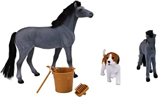 18cm Flocked Horse & Foal Set - Grey Horse, Foal and Dog Figure with Accessories - Horse Toys