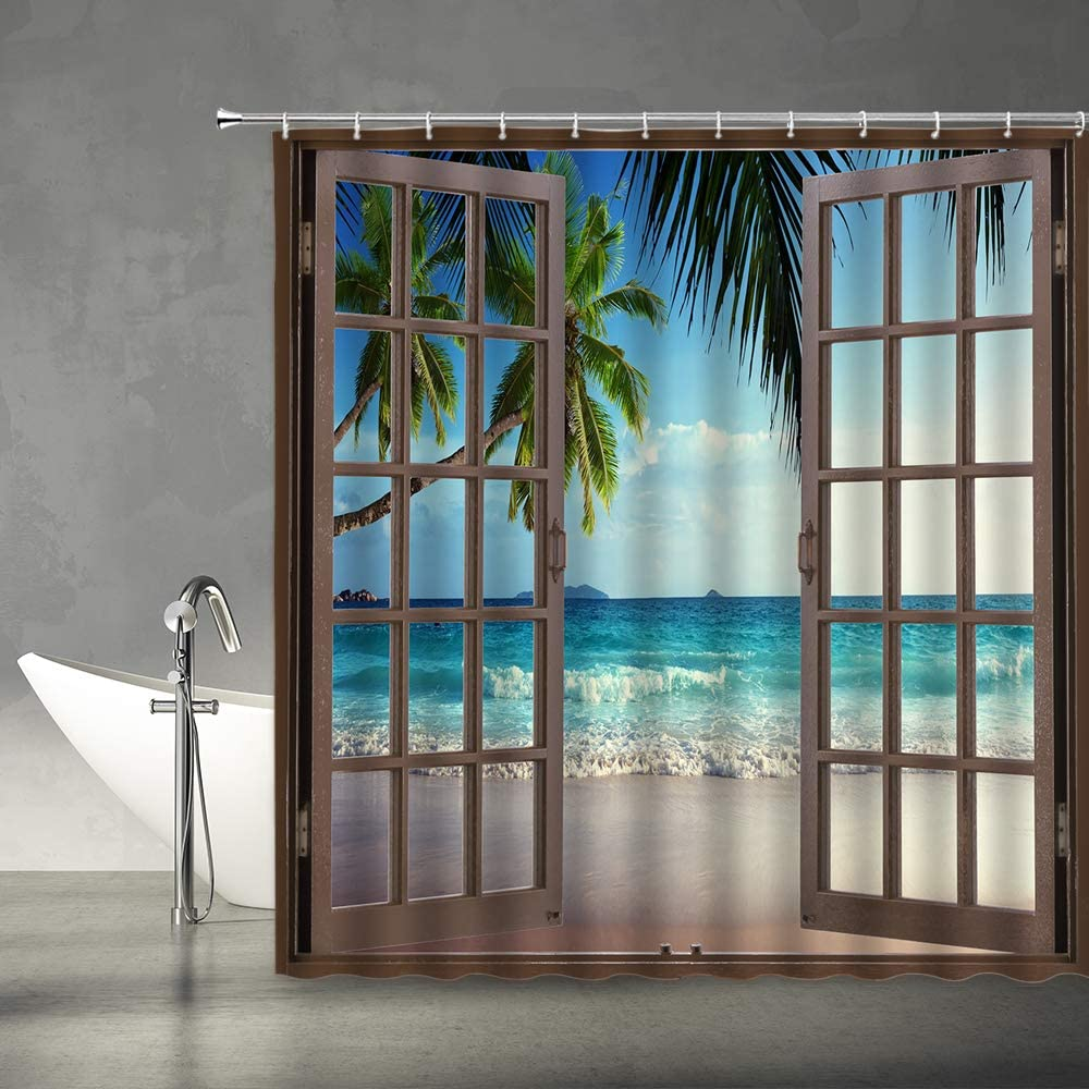 AMFD Beach View Shower 限定特価 Curtain Hawaiian 売れ筋 Tropical Tree Palm Ocean