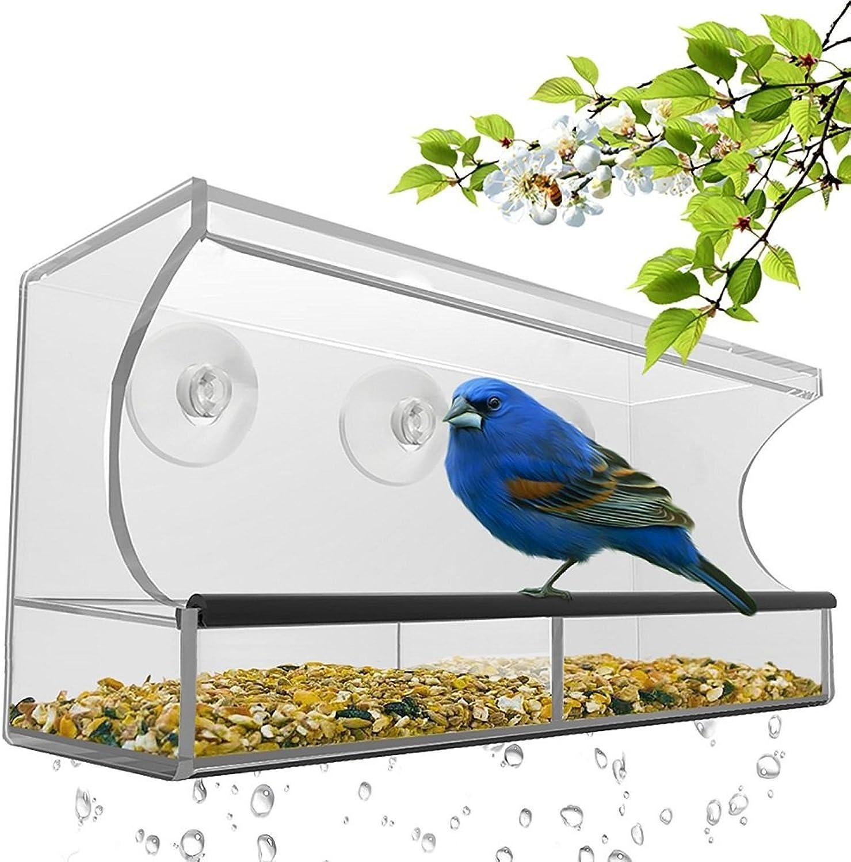Acrylic Crystal Clear Large Window Bird Feeder with 3 Powerful Suction Cups