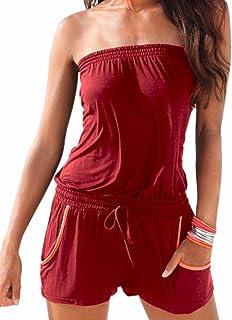 Femme Jumpsuit Et/é Fashion Slim Fit Combinaison Manches 3//4 Col en V Profond Fille V/êtements avec Fermeture /Éclair Playsuit Bodycon Romper Casual Mode Jumpsuits