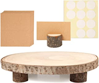 Caydo 10-12 Inch Wood Cake Stand Large Wood Slices Serving Tray for Table Centerpiece, Wedding Cake and Cheese Board