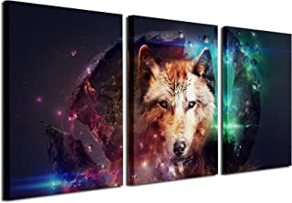 Gardenia Art - Animal Canvas Prints Wolf Wall Art Paintings Cool Pictures Artworks for Bedroom Living Room Decoration,16x24 inch/Piece, Unframed, 3 Panels