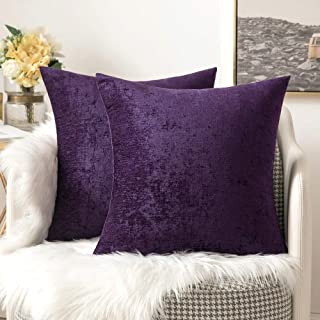 MIULEE Pack of 2 Chenille Throw Pillow Covers Decorative Pillowcase Soft Solid Cushion Case for Couch Sofa Bedroom Car 18x18 Inch, Plum Purple
