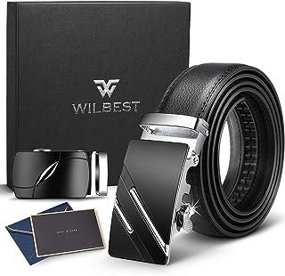 Wilbest Cintura da uomo in pelle 3.5 * 110-130cm. Cintura a cricchetto in pelle da uomo con due fibbie automatiche in lega...
