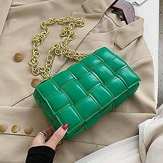 N\C Luxury Women's Shoulder Bag Woven Leather Flap Bag for Women 2020 Designer Handbag Thick Chain Messenger Bag