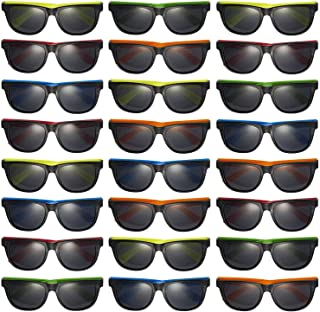 Prextex 25 Pack UV Protected Kids Neon Sunglasses Assorted Neon Colored Perfect Kids Party Favors Toy Glasses for Summer Outdoor Fun last day of school gifts for kids