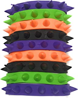 Funiverse 50 Bulk Rubber Spike Bracelet Assortment - Perfect Halloween Costume Jewelry in Black, Purple, Orange, Green and Glow-in-The-Dark