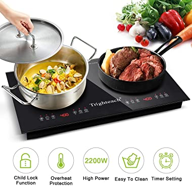 Trighteach Portable Induction Cooktop(Double Countertop Burner) 2200W Electric Stove with Digital Touch Sensor and Kids Safet