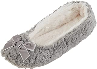 Women's Ballet-Style Plush-Lined Soft-Sole Indoor Slippers