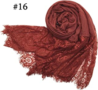 Luxury lace scarf shawl embroider flower lace foulard pretty Muslim hijabs scarfs