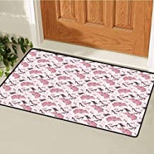 RelaxBear Vintage Inlet Outdoor Door mat Women Fashion Theme Old Fashioned Accessories Gloves Shoes Peacock Feather Earrings Catch dust Snow and mud W23.6 x L35.4 Inch Pale Pink