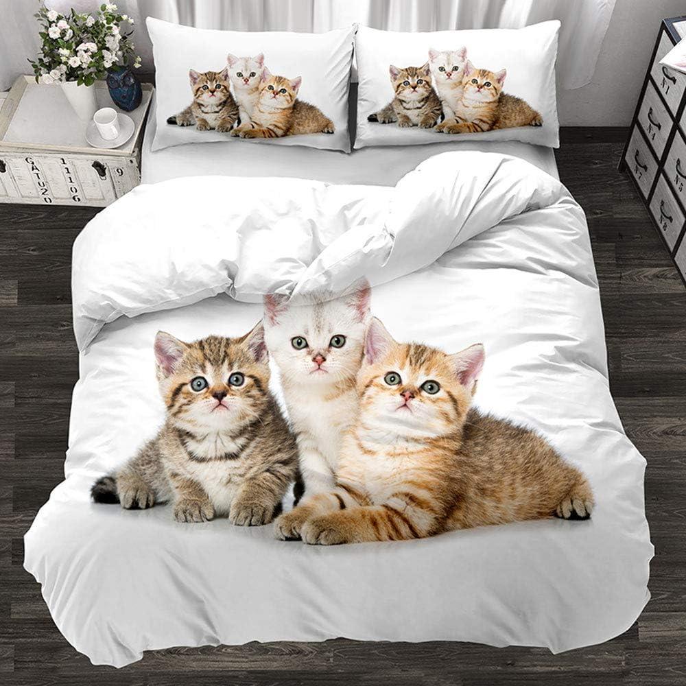 Animal 3D Cute Cat Bedding Set Kitten Quilt Cover Pillowcase 3 Pieces Twins Designer Designer Bedding Luxury 200x200cm F