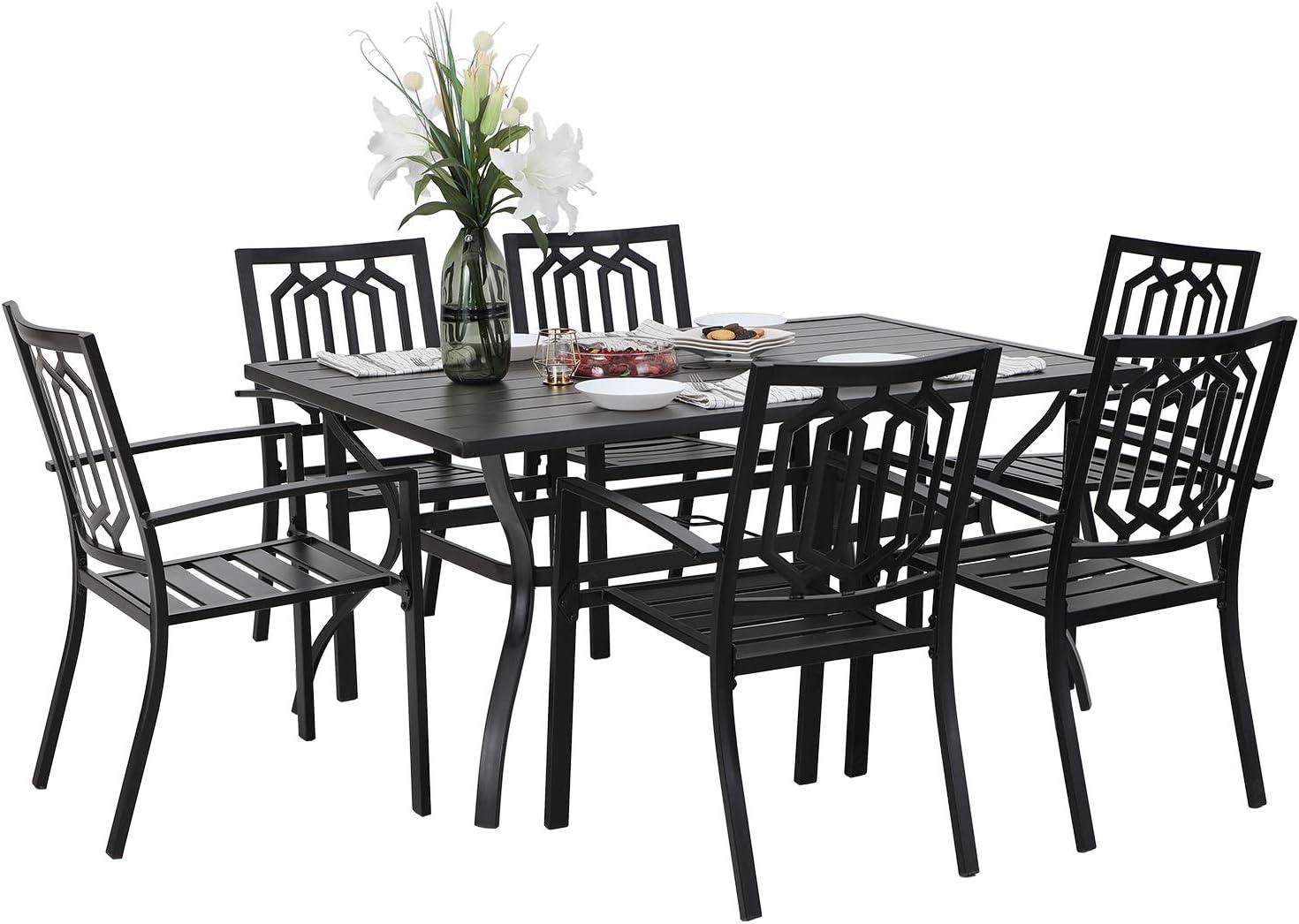 PHI VILLA 7 Piece Metal Outdoor Patio Dining Bistro Sets with Umbrella Hole - 60