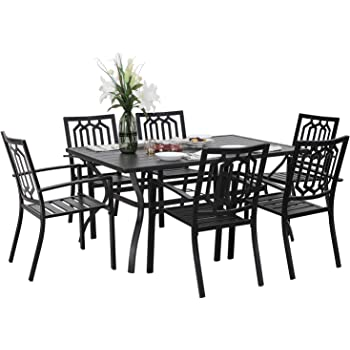 """PHIVILLA 7 Piece Metal Outdoor Patio Dining Bistro Sets with Umbrella Hole - 60"""" x 37.8"""" Rectangle Patio Table and 6 Backyard Garden Outdoor Chairs, Black"""