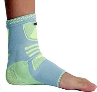 Neotech Care Ankle Support (1 Unit) with Silicone Gel Pad Insert - Lightweight, Elastic & Breathable Knitted Fabric Compression Sleeve - Right or Left Foot, Men Women - Grey Color (Size XL)