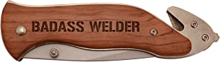 Welder Gift Badass Welder Welding Gift Engraved Folding Survival Knife