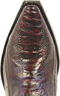 Genuine Ostrich Leg Cherry Snip Toe Los Altos Mens Western Cowboy Boot 940518