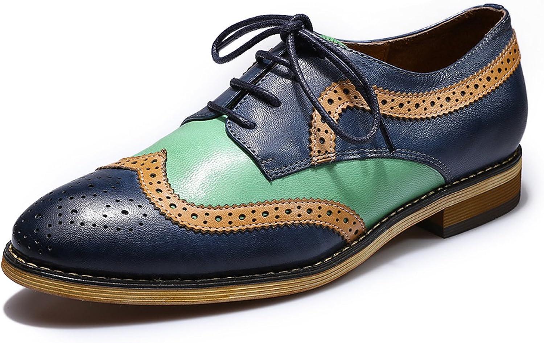 Mona flygande kvinnor läder läder läder Perforöd Brogue Wingfipt Derby Saddle Oxfords skor för kvinnor Ladis Girls Dark blå -grön  bästa pris