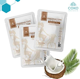 COKO Freezing Time Bio Skin Nanocell Mask, Coconut Water Hydrating Sheet Mask, Intensive Exfoliating Face Care with Natural Coconut Juice, Moisturizing and Soothing for All Skin Types (3 masks)