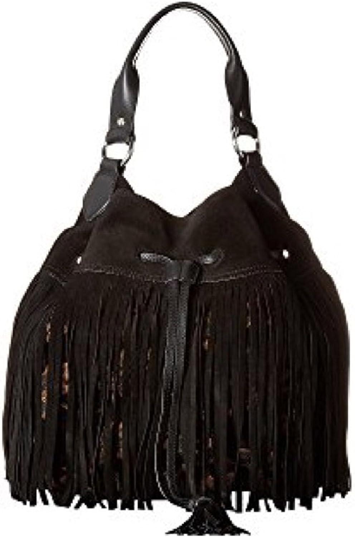 Sam Edelman Womens Tyra Leather Patter Hobo Handbag Black Large