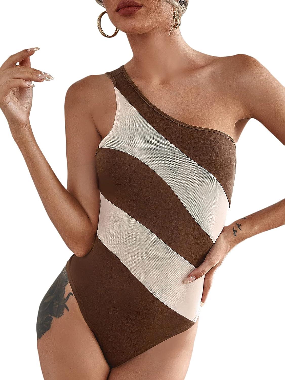 Milumia Women's One Shoulder Colorblock Sleeveless Bodysuit Asymmetrical Neck Leotard