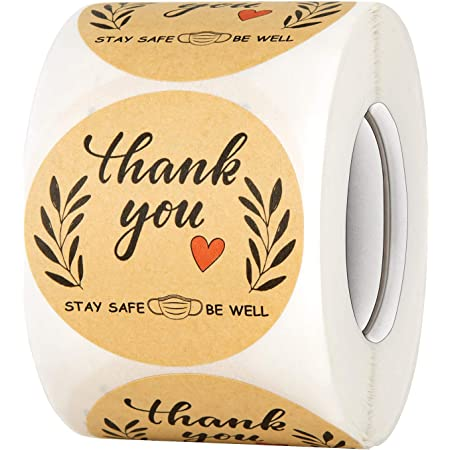 Weddings Bridal Showers and Perfect for Small Business Owners 500 Labels Per Roll for Birthdays Kraft Thank You Label Sticker with Heart 2.25 x 1.25