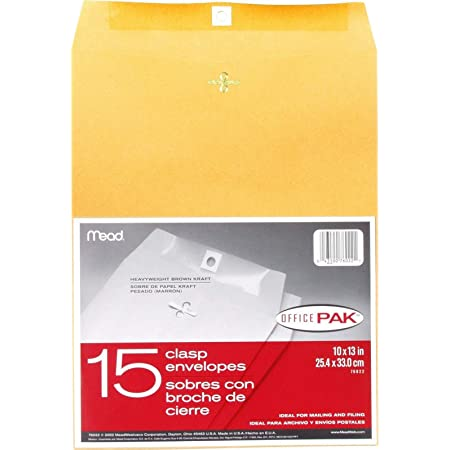Office Pack 20 Count 76020 Mead 9X12 Clasp Envelopes