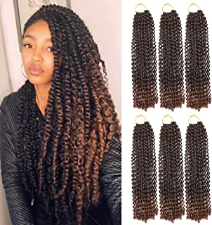 WOME 6 packs Passion Twist Hair 14 inch Long Water Wave Bohemian Briads For Passion Twist Low Temperature Hot Water Setting Braiding hair 22Root/Pack (T30, 18Inch)