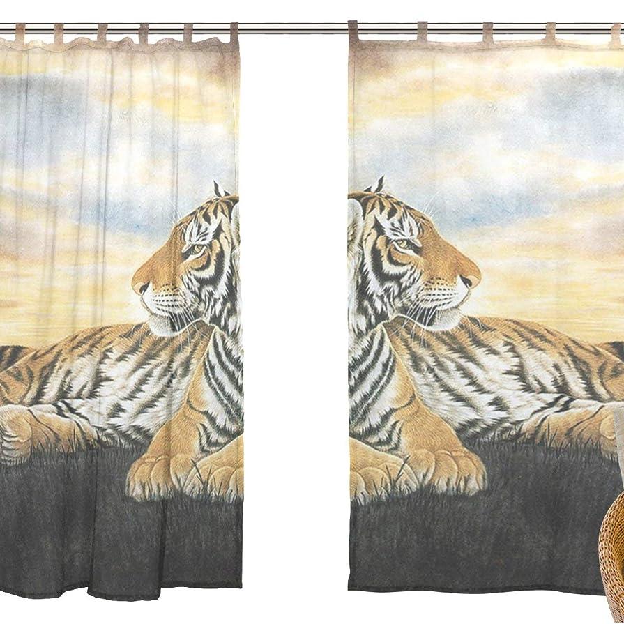 砂登場ポールZOMOY高品質 おしゃれ 薄手 柔らかい シェードカーテン紗 ドアカーテン,装飾 窓 部屋 玄関 ベッドルーム 客間用 遮光 カーテン (幅:140cm x丈:210cmx2枚組)カッコいい 虎 M29