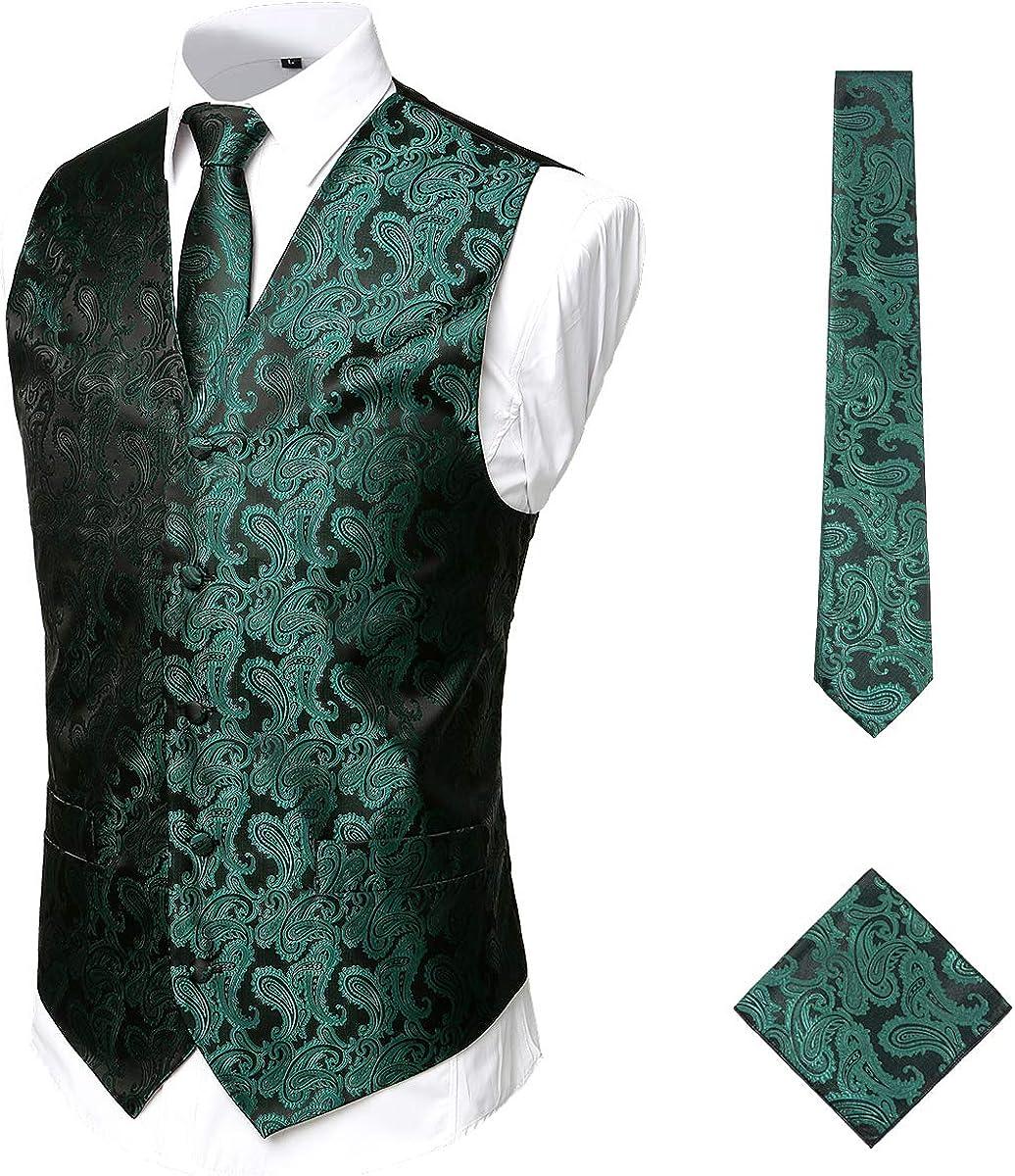 ZEROYAA Mens 3pc Paisley Jacquard Vest Set Necktie Pocket Square Set for Suit or Tuxedo