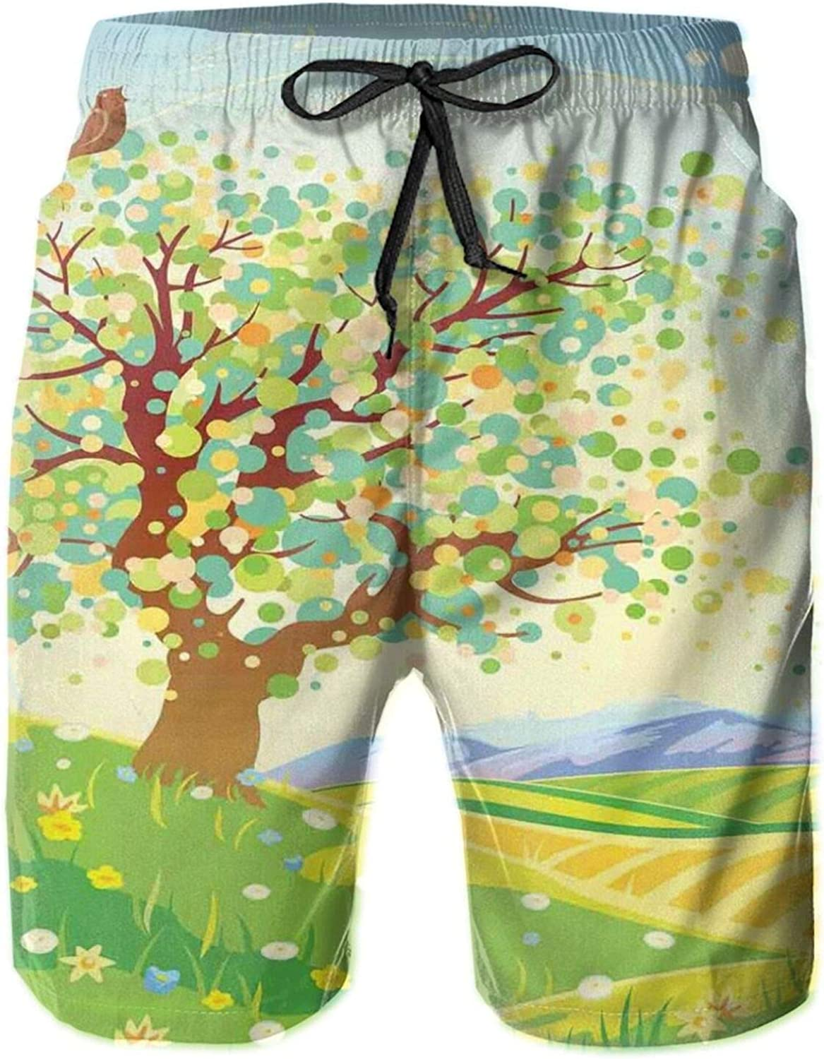 Spring Nature View with Abstract Bird Leaves Petals Flourishing On Tree Branches Swimming Trunks for Men Beach Shorts Casual Style,XL