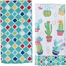 2 Cactus Themed Decorative Cotton Kitchen Towel Set | Southwest, Boho, Western Style Print | Terry Towels for Dish and Hand Drying | by Kay Dee Designs