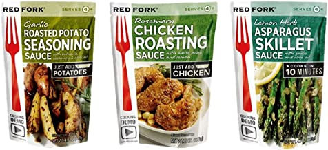 Red Fork Seasoning Sauce 3 Flavor Variety Bundle: (1) Garlic Roasted Potato, (1) Lemon Herb Asparagus, and (1) Rosemary Chicken - 3 Pouches