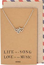 Quan Jewelry Music Gifts for Women Treble Clef Heart Pendant Necklace, Musical Jewelry for Music Lovers Adjustable Music Necklace from 16-in to 18-in