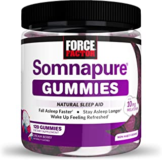 Force Factor Somnapure Gummies with Melatonin for Adults, Non-Habit-Forming Natural Sleep Aid Supplement for Deep Sleep, S...