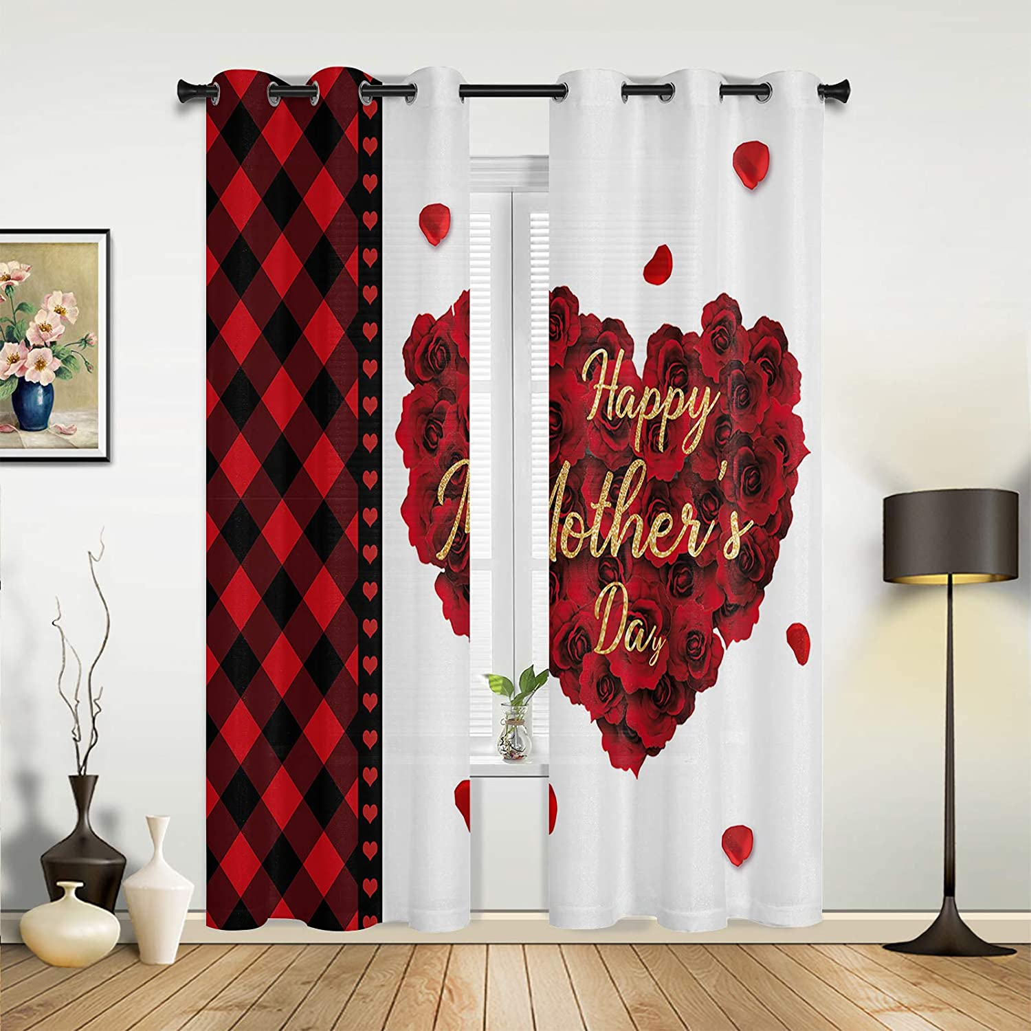 Window Cash special price Curtains Drapes Panels Happy Ro Day Romantic At the price Mother's Red