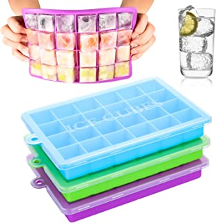 Arti-Cipes Ice Cube Trays,3-Pack Silicone Ice Cube Molds with Lid Food Grade Silica Gel Flexible and BPA Free with Spill-R...