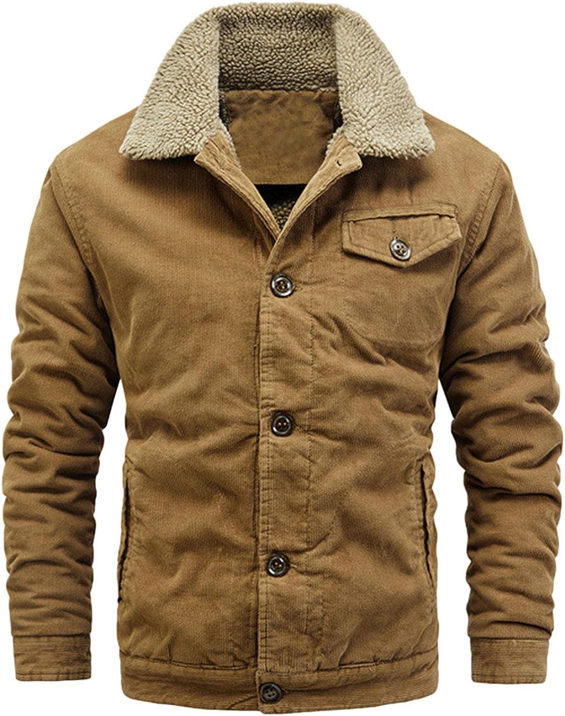 AMEBELLE Men's Corduroy Button Down Lapel Warm Sherpa Fleece Lined Trucker Jackets
