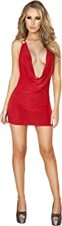 Roma Women's Plunge Mini Dress with Open Back & O-Ring Detail