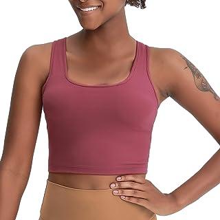 Lemedy Women Workout Sports Bra Removable Padded Yoga Running Crop Tank Top