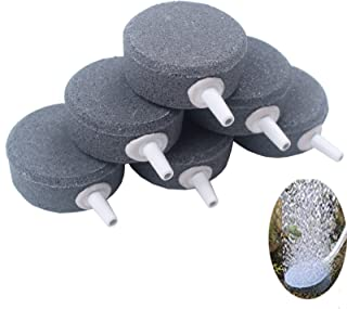BIHRTC Pack of 6 Round Shaped Aquarium Fish Tank Air Bubble Disk Stone Airstone Diffusers