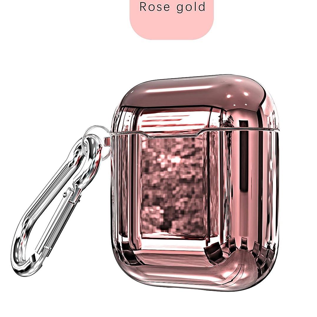 ヒギンズ創始者キャリアAirPodsケース Airpods カバーイヤホンケース 防塵 TPUメッキ耐衝撃で耐久性あり キズ防止 滑り止めなセット収納ケース第2/1世代に適用(Rose gold)