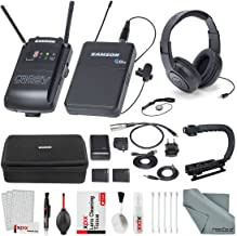 Samson Concert 88 Camera Combo UHF Wireless System (Channel K) and Samson SR450 Studio Headphones with Accessory Bundle and Cleaning Kit