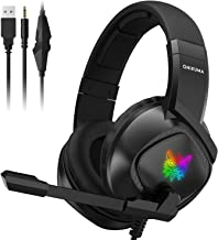 ONIKUMA Gaming Headset PS4 Headset Noise Canceling Headset with Retractable Microphone for Xbox One K19 Gaming Headset Compatible with Switch, PC, PSP, Mac, Laptop, Nintendo Switch