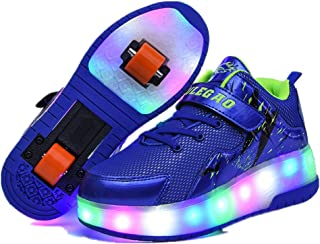 EVLYN Boy's and Girl's LED Light up Double Wheel Shoes Roller Shoes Roller Sneakers
