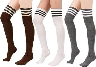 Calzettoni Cotone di Coscia Retro YSense 3 paia Calze da Donna lunghe sopra il Ginocchio Calzini Lunghi Donna