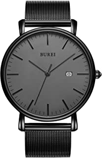 BUREI Men's Fashion Minimalist Wrist Watch Analog Date with Stainless Steel Mesh/Leather Band