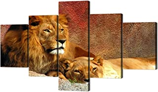 Yatsen Bridge Lions 5 Panel Picture Canvas Wall Art Modern Large Painting Brown Lions Pictures Wall Art Artwork Animal Poster Prints for Home Decor Ready to Hang for Living Room(70''W x 40''H)