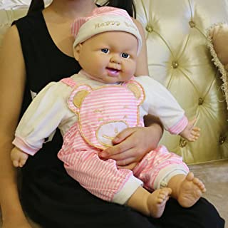 Meiyie 20-inch Soft Body Baby Doll Smile Cuddle Play Doll, in Pink Stripe Bear Overall